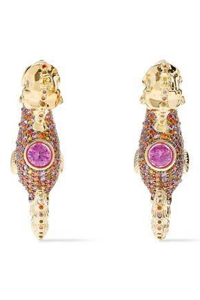 NOIR JEWELRY Tasman Seahorse 14-karat gold-plated crystal earrings