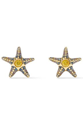 768ddaff3 NOIR JEWELRY Saboga Starfish 14-karat gold-plated crystal earrings