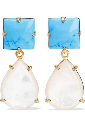 87eea44553a1d BOUNKIT 14-karat gold-plated, turquoise and mother-of-pearl earrings