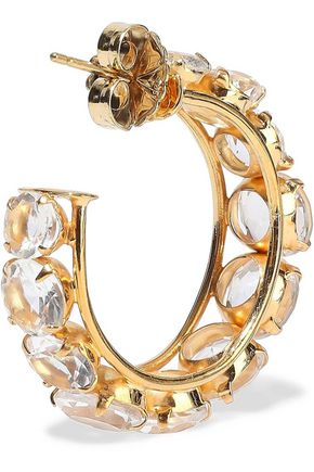 BOUNKIT 14-karat gold-plated quartz hoop earrings