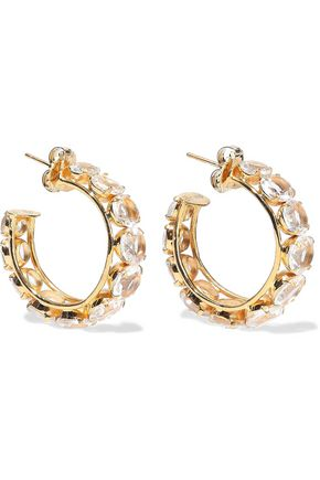 BOUNKIT 14-karat gold-plated quartz hoop earrings