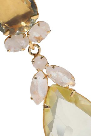 BOUNKIT 14-karat gold-plated, quartz and moonstone earrings