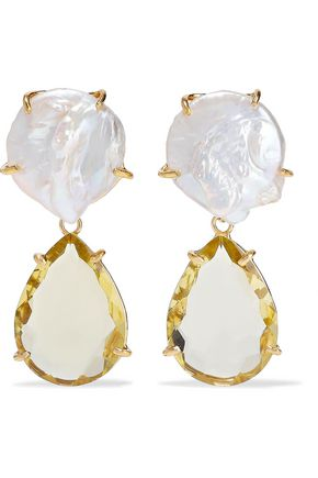 BOUNKIT 14-karat gold-plated, freshwater pearl and quartz earrings