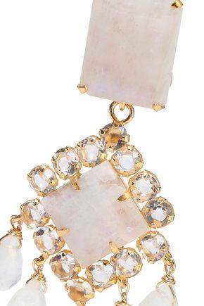 BOUNKIT 14-karat gold-plated, quartz and moonstone earrings