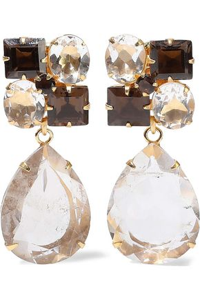 BOUNKIT 14-karat gold-plated quartz earrings