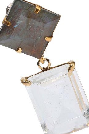 BOUNKIT 14-karat gold-plated, labradorite and quartz earrings