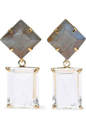 BOUNKIT 14-karat gold-plated, labradorite and quartz earrings