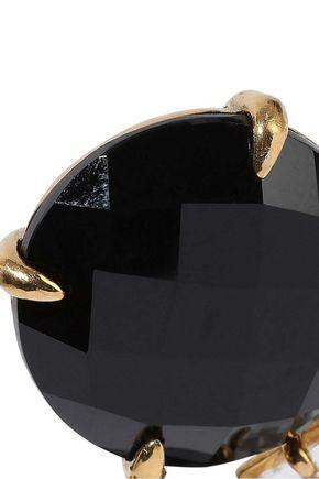 BOUNKIT 14-karat gold-plated, onyx and quartz earrings