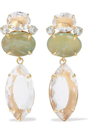 BOUNKIT 14-karat gold-plated, quartz and flourite earrings
