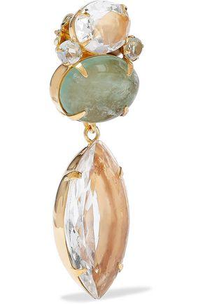 BOUNKIT 14-karat gold-plated, quartz and flourite earrings