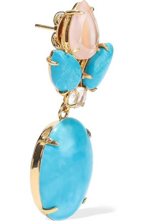BOUNKIT 14-karat gold-plated, quartz and turquoise earrings