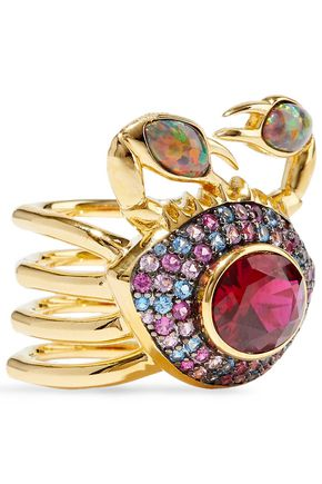 NOIR JEWELRY 14-karat gold-plated, crystal and stone ring