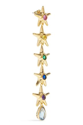 NOIR JEWELRY Saboga Linked Starfish 14-karat gold-plated crystal earrings