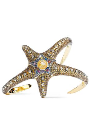 NOIR JEWELRY Saboga Starfish 14-karat gold-plated crystal cuff