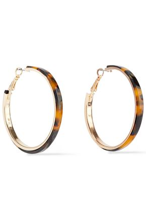 KENNETH JAY LANE Gold-tone tortoiseshell acetate hoop earrings