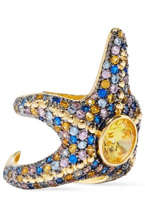 NOIR JEWELRY Saboga Starfish 14-karat gold-plated crystal ring