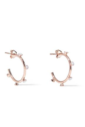 AAMAYA by PRIYANKA Nomad 18-karat rose gold-plated sterling silver stone hoop earrings
