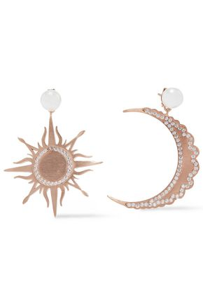 AAMAYA by PRIYANKA 18-karat rose gold-plated sterling silver, faux pearl and crystal earrings