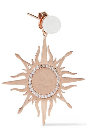 AAMAYA by PRIYANKA Moon And Sun brushed 18-karat rose gold-plated, faux pearl and crystal earrings