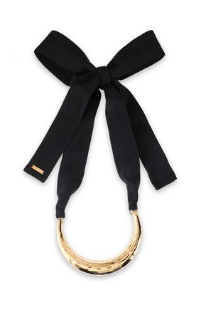 MARNI Hammered gold-tone and silk choker