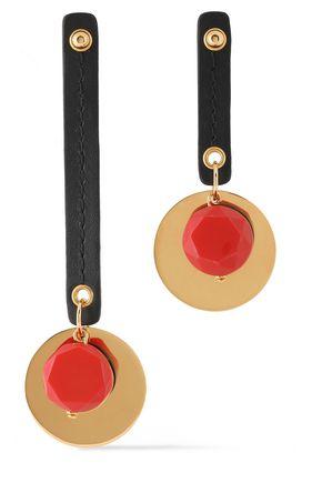 MARNI Gold-tone, stone and leather earrings