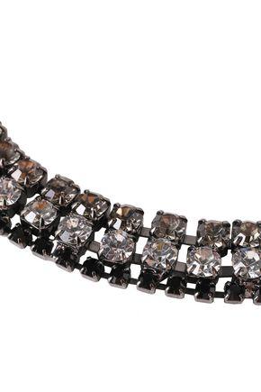 MARNI Gunmetal-tone, crystal, leather and floral-appliquéd necklace