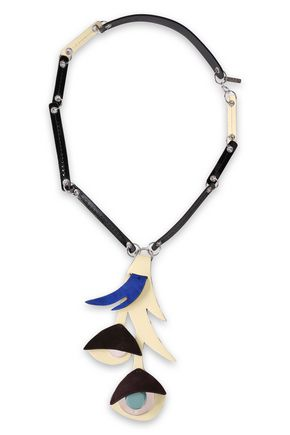 MARNI Silver-tone, suede and patent-leather necklace