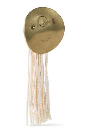 MARNI Burnished gold-tone and tasseled cord brooch
