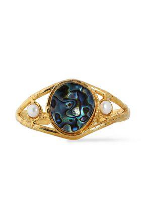 SYLVIA TOLEDANO 18 karat gold-plated stone and faux pearl bracelet