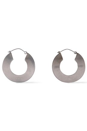 MARNI Burnished silver-tone hoop earrings