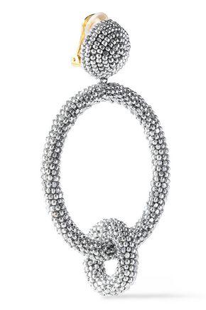 Oscar De La Renta Woman Gold-Tone Beaded Clip Earrings Silver