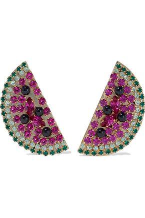 ANTON HEUNIS Gold-tone, crystal and bead earrings