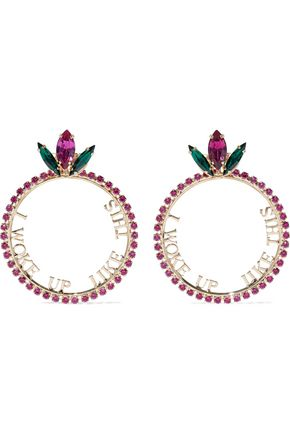 ANTON HEUNIS Gold-tone crystal earrings