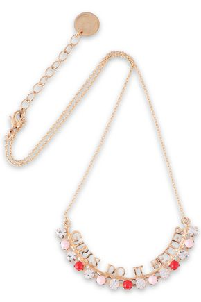 ANTON HEUNIS Gold-tone, crystal and bead necklace
