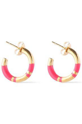 AURÉLIE BIDERMANN 18-karat gold-plated enamel earrings