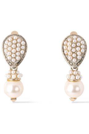 VALENTINO GARAVANI Gold-tone faux pearl clip earrings