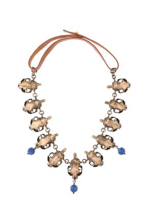 VALENTINO Burnished gold-tone, bead and leather necklace