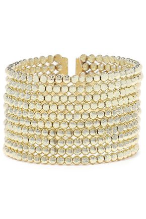 KENNETH JAY LANE 22-karat gold-plated beaded cuff