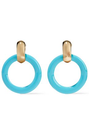 KENNETH JAY LANE Gold-tone acetate clip earrings