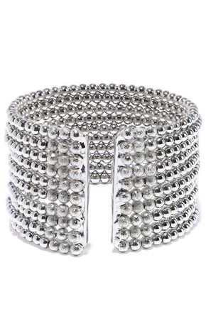 KENNETH JAY LANE Rhodium-plated beaded cuff