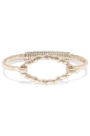 KENNETH JAY LANE Hammered 22-karat gold-plated bangle