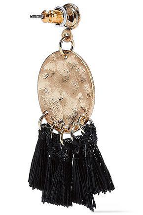 KENNETH JAY LANE Burnished gold-tone tassel earrings