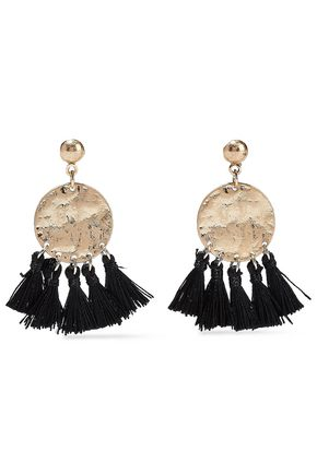 KENNETH JAY LANE Burnished gold-tone tassel earrings
