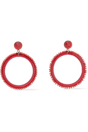 KENNETH JAY LANE Gold-tone, bead and cord hoop earrings