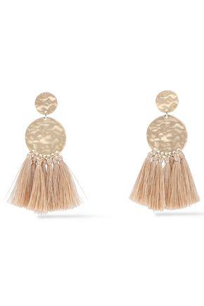 KENNETH JAY LANE Hammered gold-tone tassel earrings
