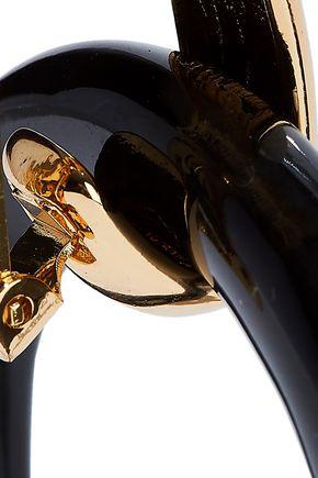 KENNETH JAY LANE 22-karat gold-plated resin clip earrings