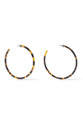 KENNETH JAY LANE Silver-tone tortoiseshell resin hoop earrings