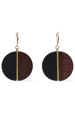 KENNETH JAY LANE Gold-tone wood earrings