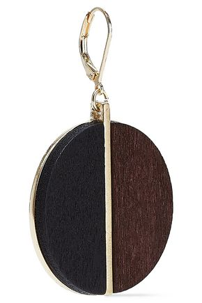 KENNETH JAY LANE Gold-tone wood earrings