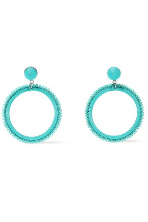 KENNETH JAY LANE Silver-tone, bead and cord hoop earrings
